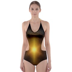 Background Christmas Star Advent Cut Out One Piece Swimsuit
