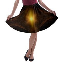 Background Christmas Star Advent A Line Skater Skirt