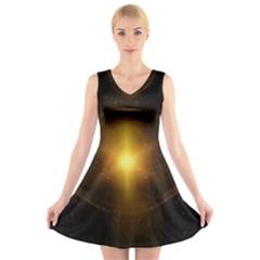 Background Christmas Star Advent V Neck Sleeveless Skater Dress