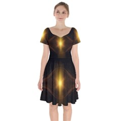 Background Christmas Star Advent Short Sleeve Bardot Dress