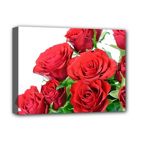 A Bouquet Of Roses On A White Background Deluxe Canvas 16  X 12