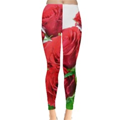 A Bouquet Of Roses On A White Background Leggings