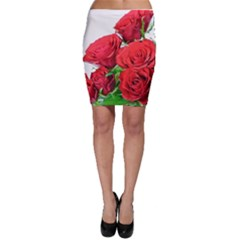 A Bouquet Of Roses On A White Background Bodycon Skirt