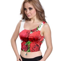 A Bouquet Of Roses On A White Background Crop Top