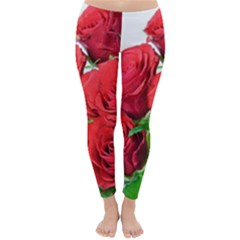 A Bouquet Of Roses On A White Background Classic Winter Leggings
