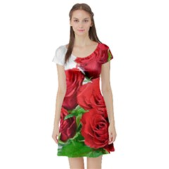 A Bouquet Of Roses On A White Background Short Sleeve Skater Dress