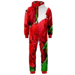 A Bouquet Of Roses On A White Background Hooded Jumpsuit (men)