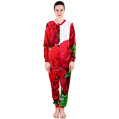 A Bouquet Of Roses On A White Background Onepiece Jumpsuit (ladies)