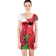 A Bouquet Of Roses On A White Background Short Sleeve Bodycon Dress