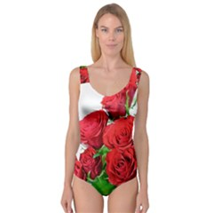 A Bouquet Of Roses On A White Background Princess Tank Leotard
