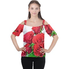 A Bouquet Of Roses On A White Background Women s Cutout Shoulder Tee