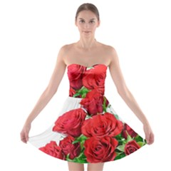 A Bouquet Of Roses On A White Background Strapless Bra Top Dress