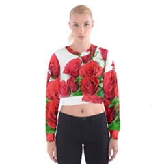 A Bouquet Of Roses On A White Background Cropped Sweatshirt