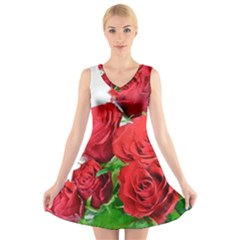 A Bouquet Of Roses On A White Background V Neck Sleeveless Skater Dress