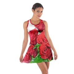 A Bouquet Of Roses On A White Background Cotton Racerback Dress