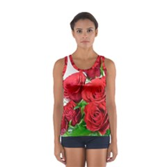 A Bouquet Of Roses On A White Background Women s Sport Tank Top