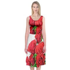 A Bouquet Of Roses On A White Background Midi Sleeveless Dress