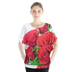 A Bouquet Of Roses On A White Background Blouse