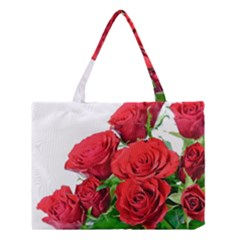 A Bouquet Of Roses On A White Background Medium Tote Bag