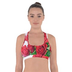 A Bouquet Of Roses On A White Background Cross Back Sports Bra