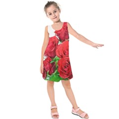 A Bouquet Of Roses On A White Background Kids  Sleeveless Dress