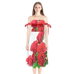 A Bouquet Of Roses On A White Background Shoulder Tie Bardot Midi Dress
