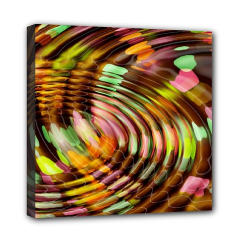 Wave Rings Circle Abstract Mini Canvas 8  X 8