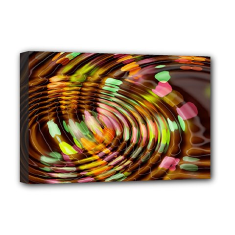 Wave Rings Circle Abstract Deluxe Canvas 18  X 12