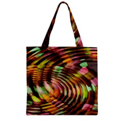 Wave Rings Circle Abstract Zipper Grocery Tote Bag