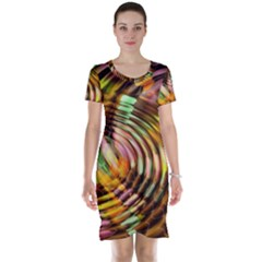 Wave Rings Circle Abstract Short Sleeve Nightdress