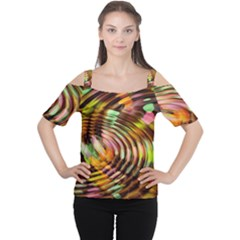 Wave Rings Circle Abstract Women s Cutout Shoulder Tee