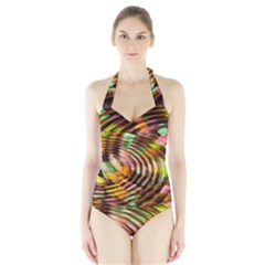 Wave Rings Circle Abstract Halter Swimsuit