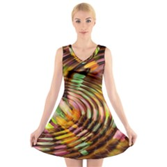 Wave Rings Circle Abstract V Neck Sleeveless Skater Dress