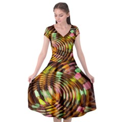 Wave Rings Circle Abstract Cap Sleeve Wrap Front Dress