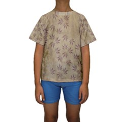 Parchment Paper Old Leaves Leaf Kids  Short Sleeve Swimwear