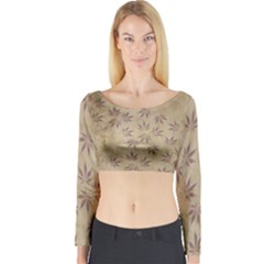 Parchment Paper Old Leaves Leaf Long Sleeve Crop Top