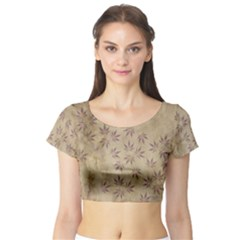Parchment Paper Old Leaves Leaf Short Sleeve Crop Top (tight Fit)