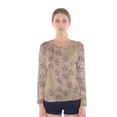 Parchment Paper Old Leaves Leaf Women s Long Sleeve Tee