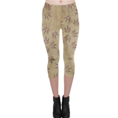 Parchment Paper Old Leaves Leaf Capri Leggings