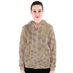 Parchment Paper Old Leaves Leaf Women s Zipper Hoodie