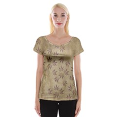 Parchment Paper Old Leaves Leaf Women s Cap Sleeve Top