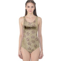 Parchment Paper Old Leaves Leaf One Piece Swimsuit
