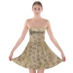 Parchment Paper Old Leaves Leaf Strapless Bra Top Dress