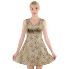 Parchment Paper Old Leaves Leaf V Neck Sleeveless Skater Dress