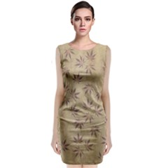 Parchment Paper Old Leaves Leaf Classic Sleeveless Midi Dress