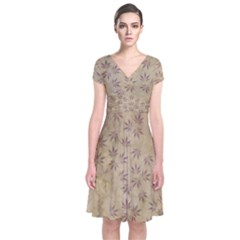 Parchment Paper Old Leaves Leaf Short Sleeve Front Wrap Dress