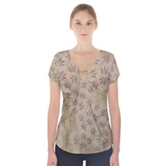 Parchment Paper Old Leaves Leaf Short Sleeve Front Detail Top