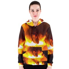 Fire Rays Mystical Burn Atmosphere Women s Zipper Hoodie