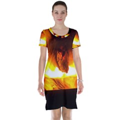 Fire Rays Mystical Burn Atmosphere Short Sleeve Nightdress