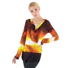 Fire Rays Mystical Burn Atmosphere Women s Tie Up Tee